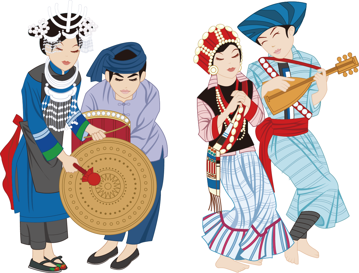 Culture clipart traditional clothing. China lisu people ethnic