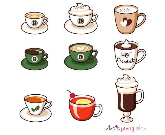 Hot drinks cups espresso. Cup clipart 6 cup