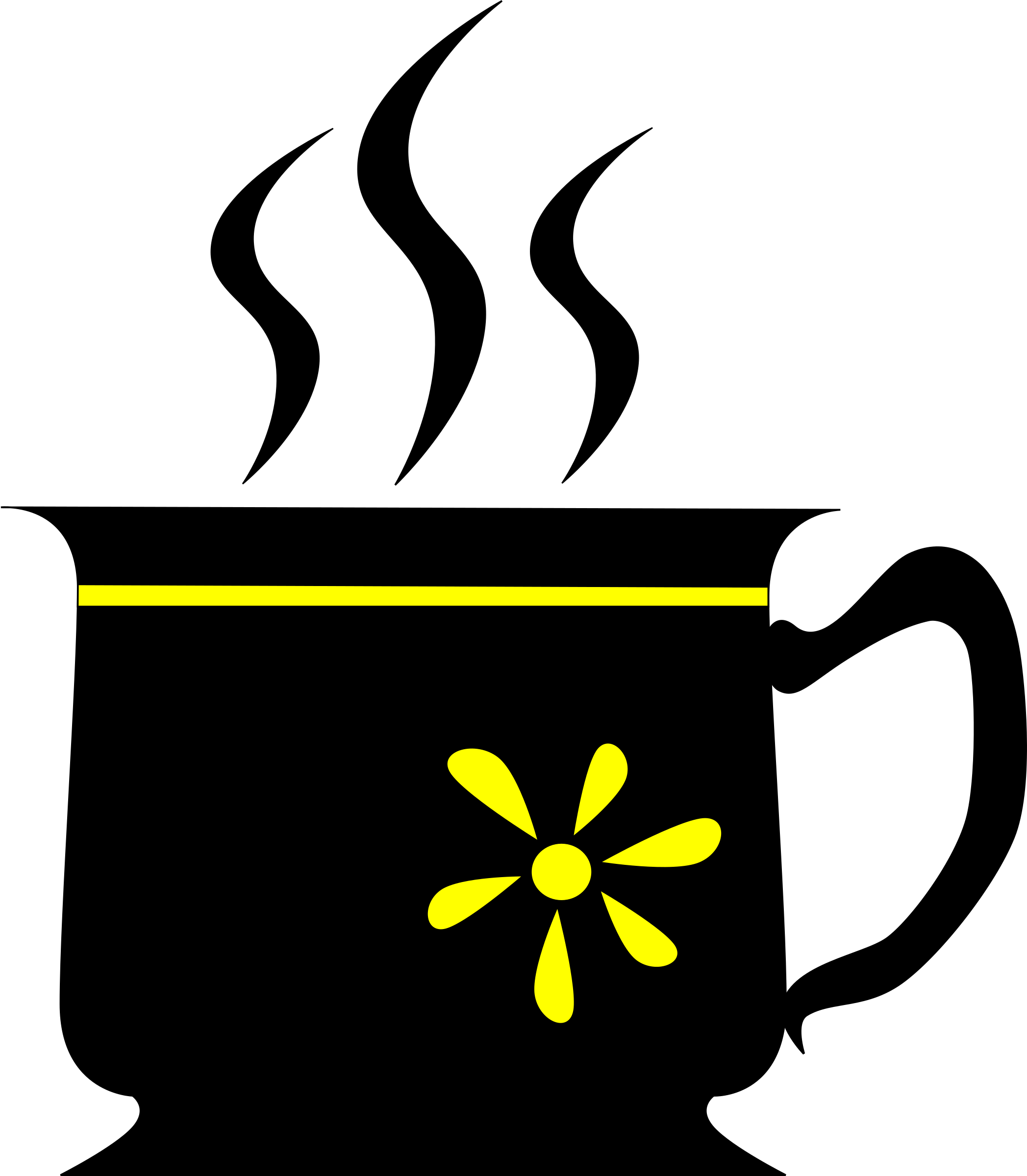 Cup clipart black and white. With yellow flower big