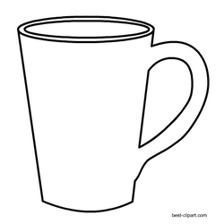 Cup clipart black and white. Coffee mug clip art