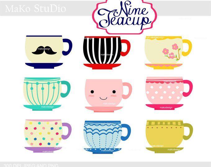Mug clipart cute mug. Cup tea cups digital