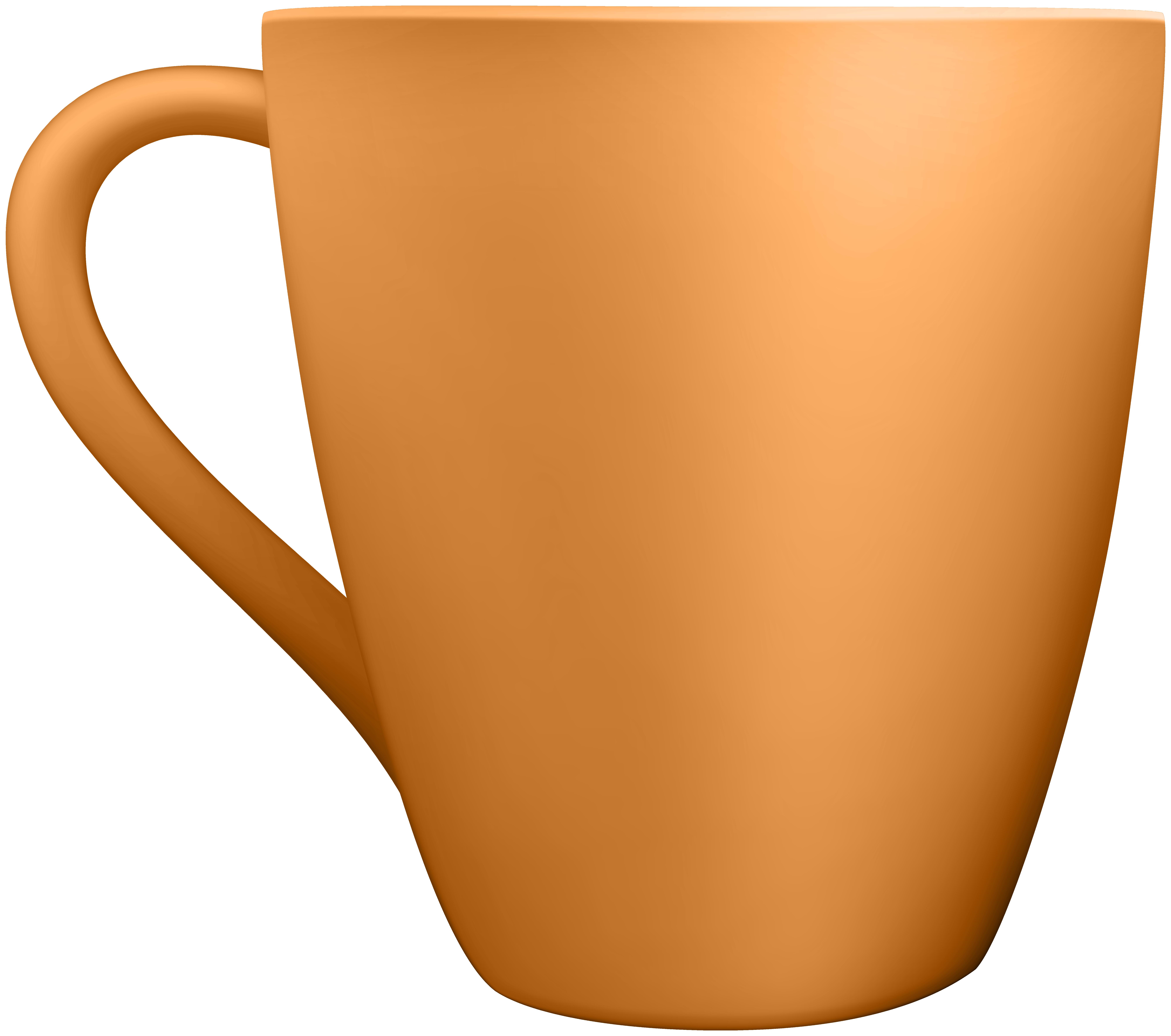 Orange ceramic clip art. Mug clipart full