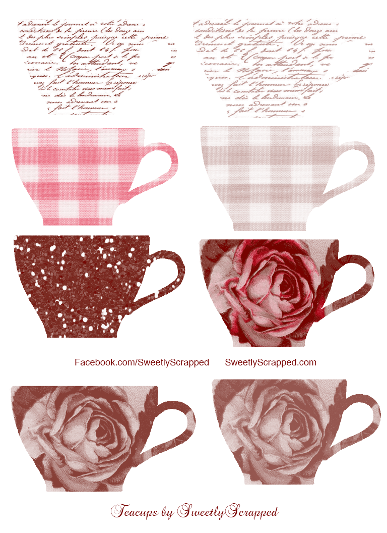 Floral clipart teacup. Sweetly scrapped free teacups