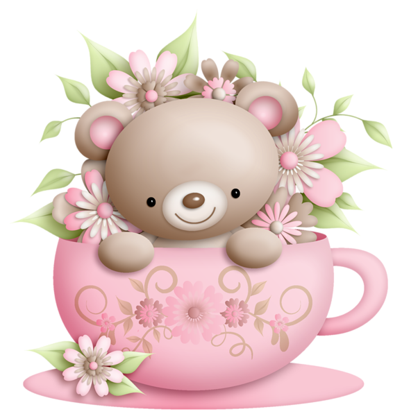 Cup and teddy with. Dust clipart cartoon