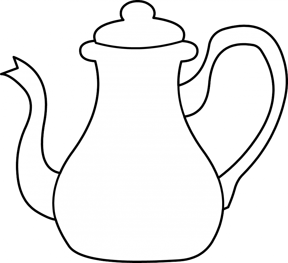 Cups clipart teapot. Black and white panda
