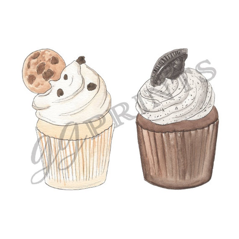 Cupcake clipart cookie. Food hand drawn cupcakes