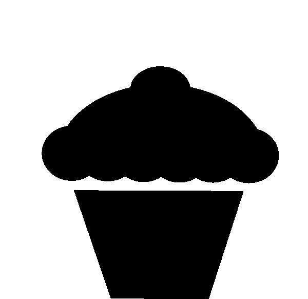 Clip art black and. White clipart cupcake