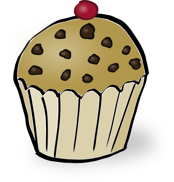 Chocolate chip muffin clip. Hearts clipart cake