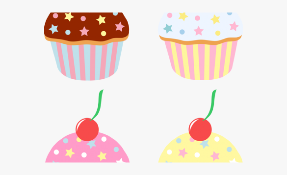 Cartoon cakes and sweets. Cupcake clipart four