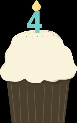 Fourth birthday clip art. Cupcake clipart four