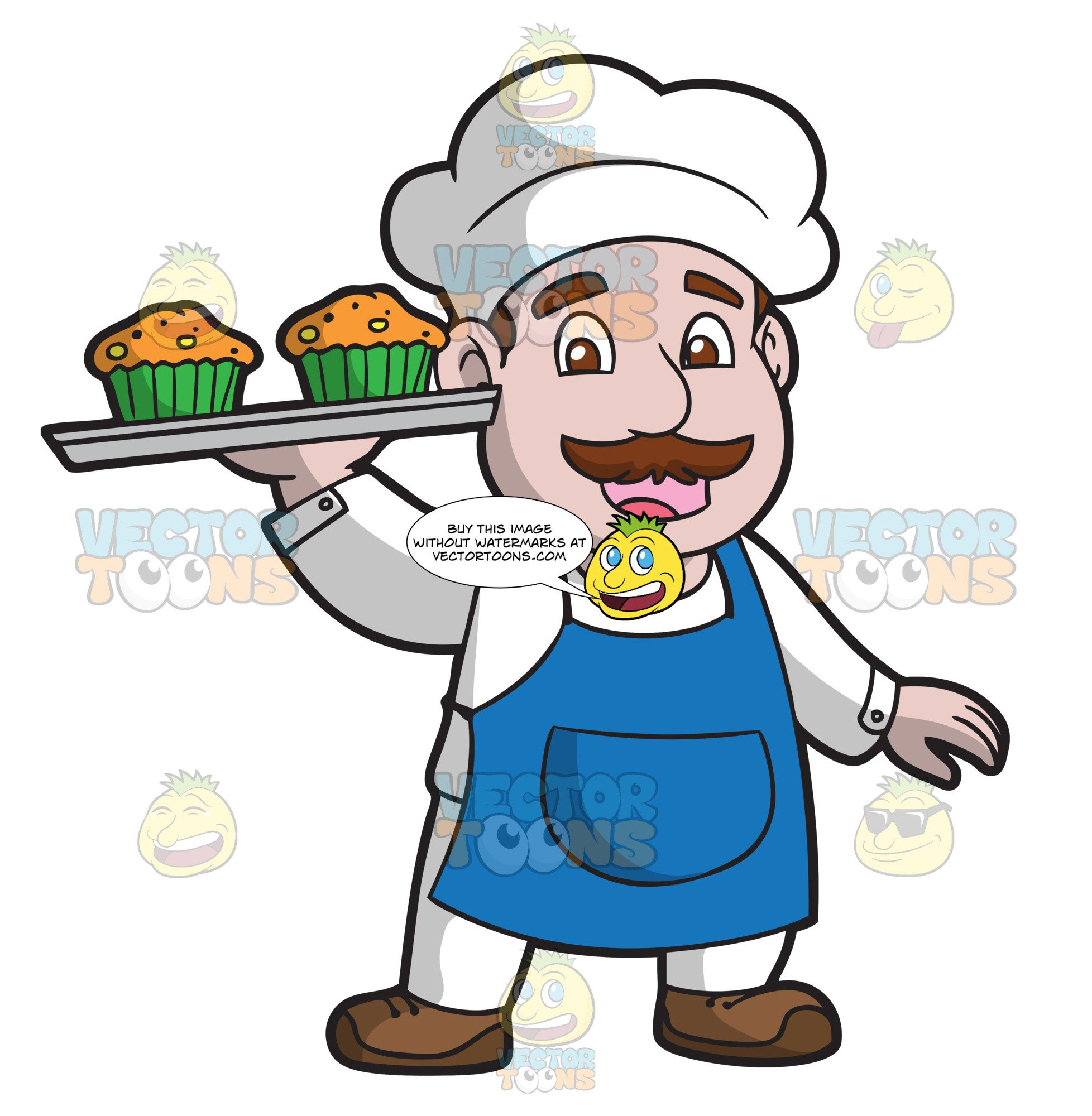 The carrying a tray. Muffin clipart muffin man
