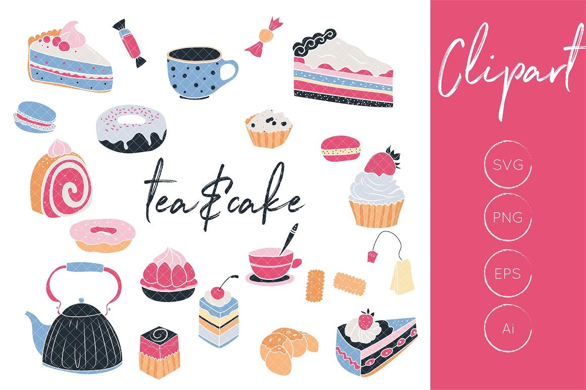 Cupcake clipart tea. Cake and graphics pot