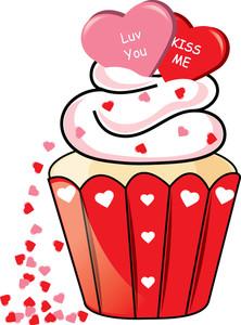 Free image . Cupcake clipart valentine