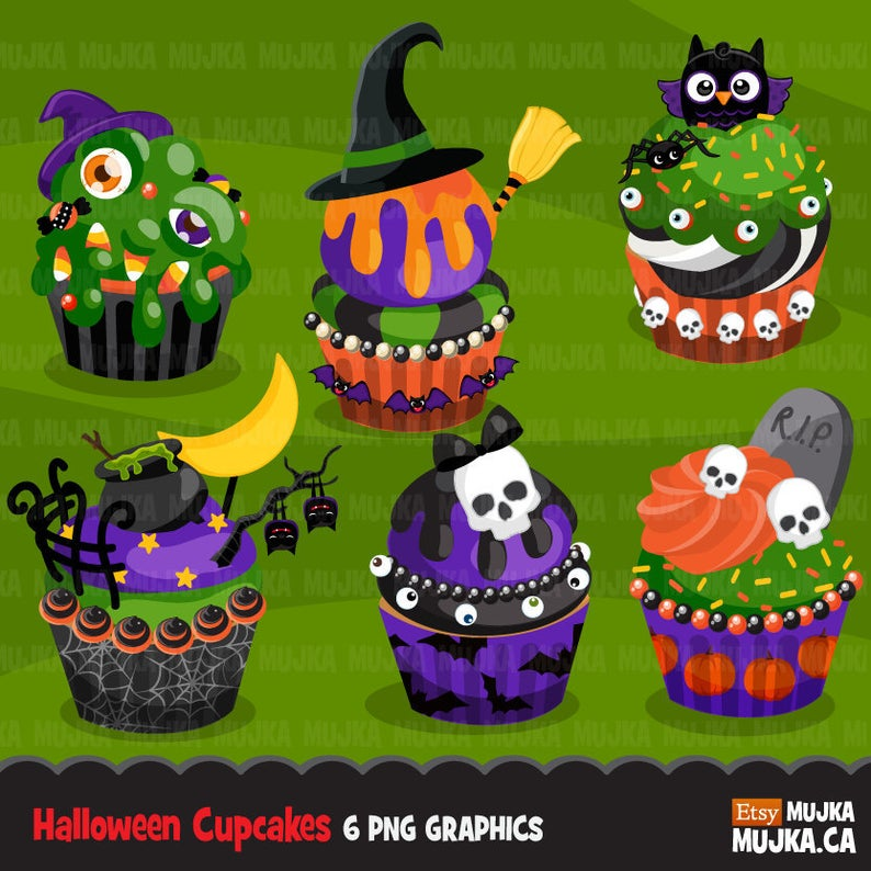 Halloween cute owl cauldron. Cupcake clipart witch