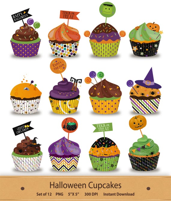 Cupcake clipart witch. Halloween clip art cupcakes