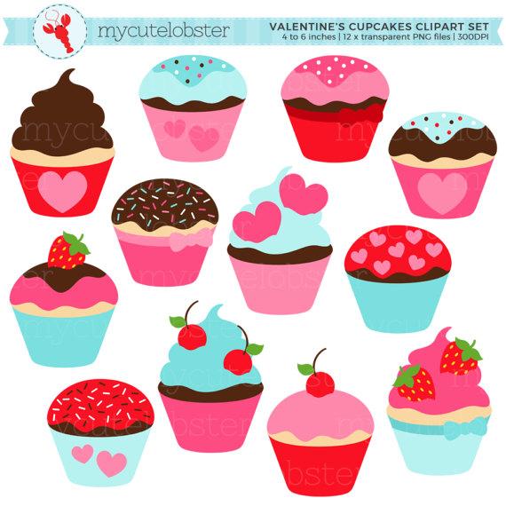 Valentine s set hearts. Cupcakes clipart 12 cupcake