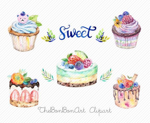Cupcakes clipart bakery cake. Watercolor cupcake