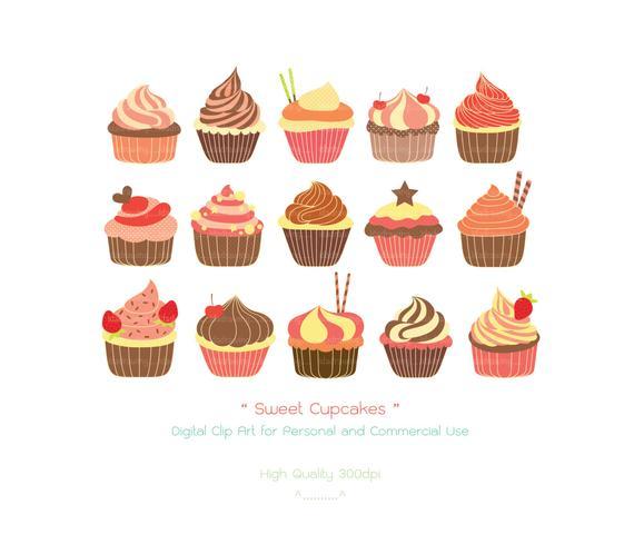 Sweet chocolate decoration valentine. Cupcakes clipart bakery cake