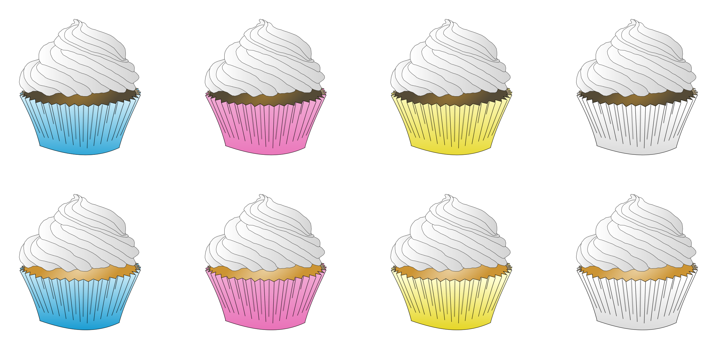 Assorted white frosted cupcakes. Muffins clipart buttercream