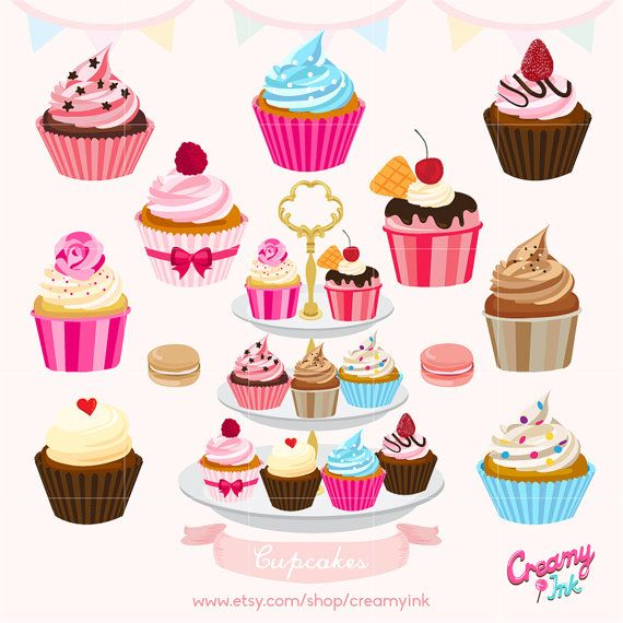 Muffin clipart pastry. Cupcakes cake digital vector