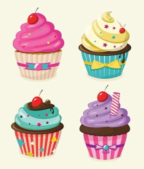 Muffins clipart colourful cupcake. Colorful cupcakes illustration