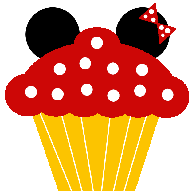 Minnie and free printable. Mickey clipart cupcakes