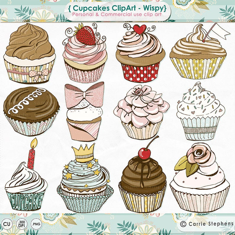 Pink girl birthday party. Cupcakes clipart pastel cupcake