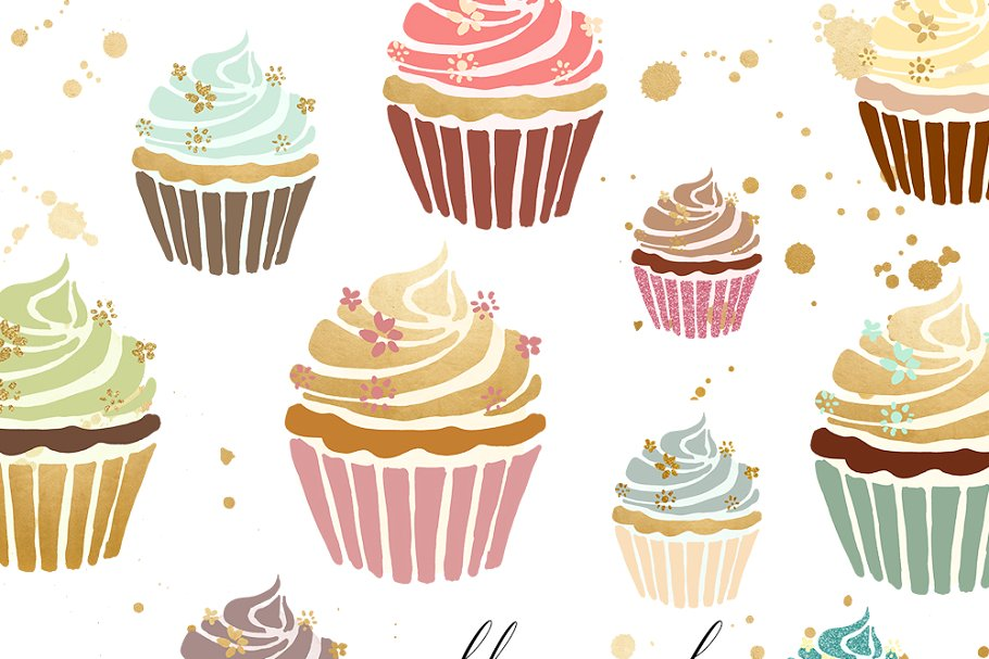 Cupcakes clipart pastel cupcake. In gold illustrations creative