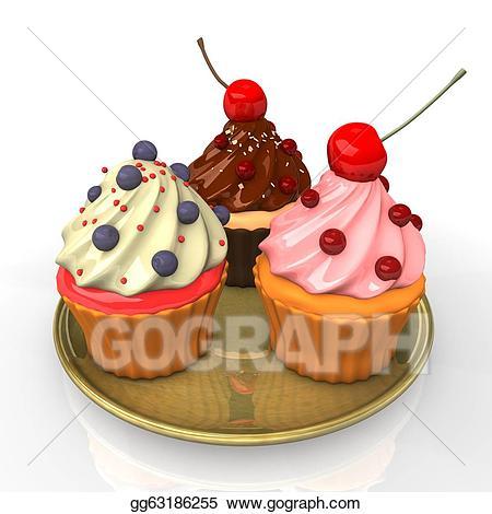 Cupcakes clipart plate cupcake. Stock illustration three illustrations