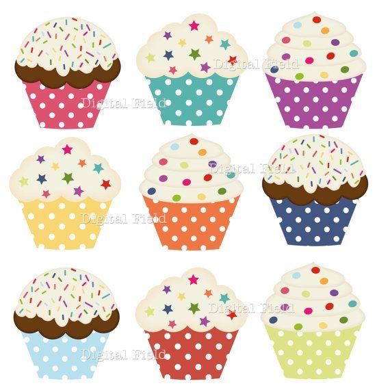 Instant download clip art. Cupcakes clipart polka dot cupcake