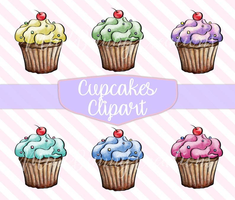 Cupcakes clipart real cupcake. Hand painted graphics clip