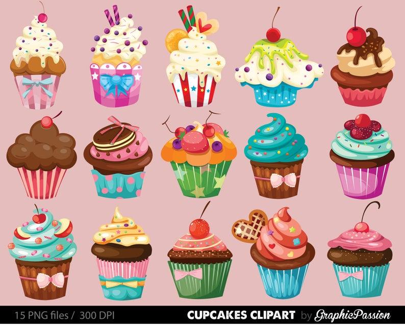 Digital clip art illustration. Cupcakes clipart real cupcake