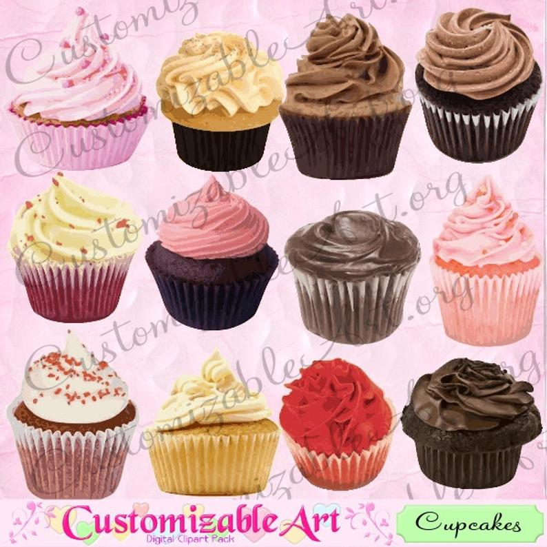 Cup cake digital clip. Cupcakes clipart real cupcake