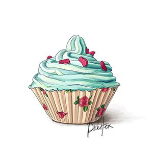 Cupcakes clipart vintage. Roses blue cupcake for