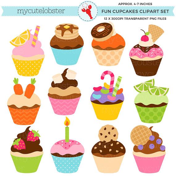 Fun set clip art. Cupcakes clipart