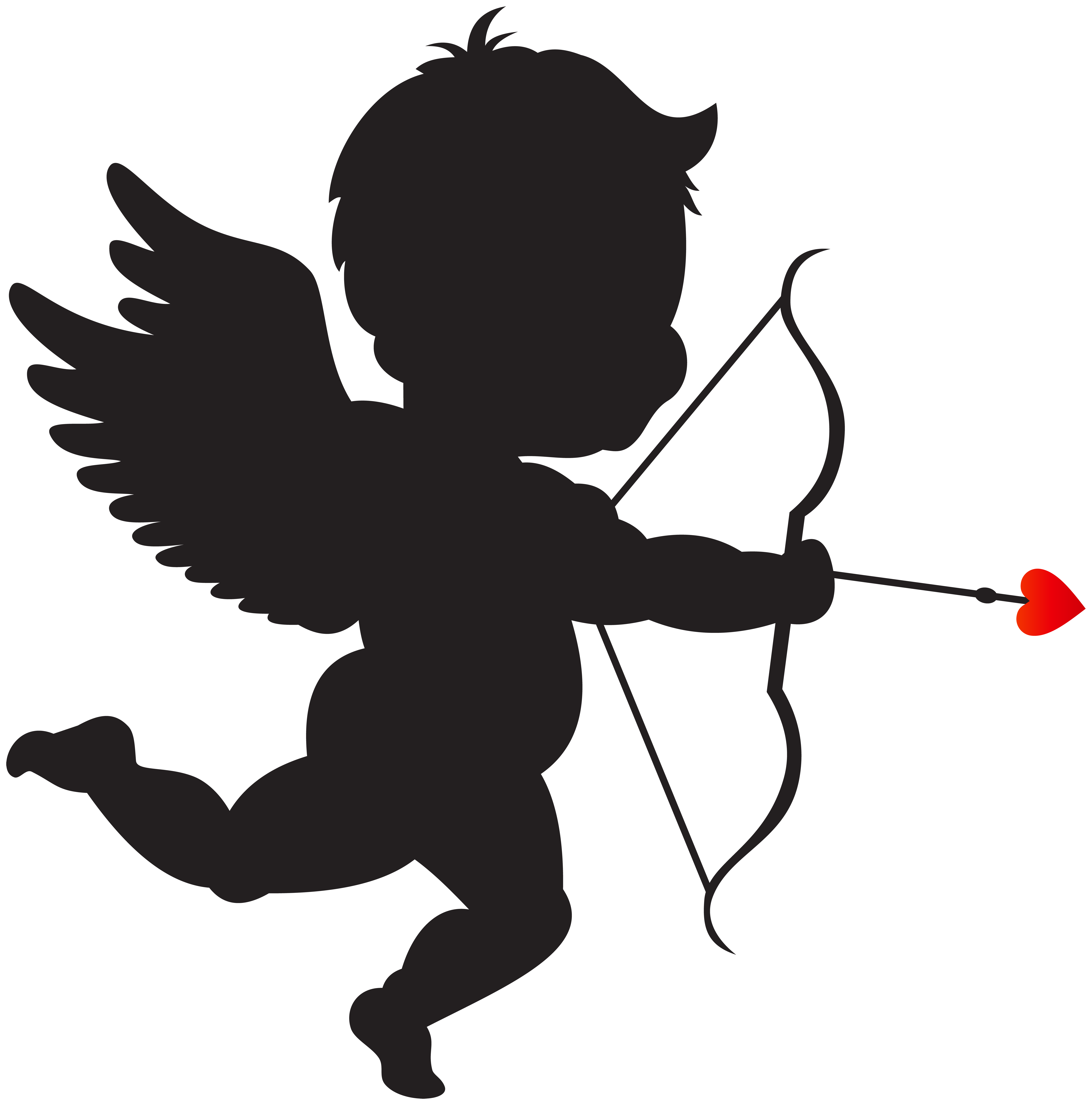 With bow silhouette png. Cupid clipart