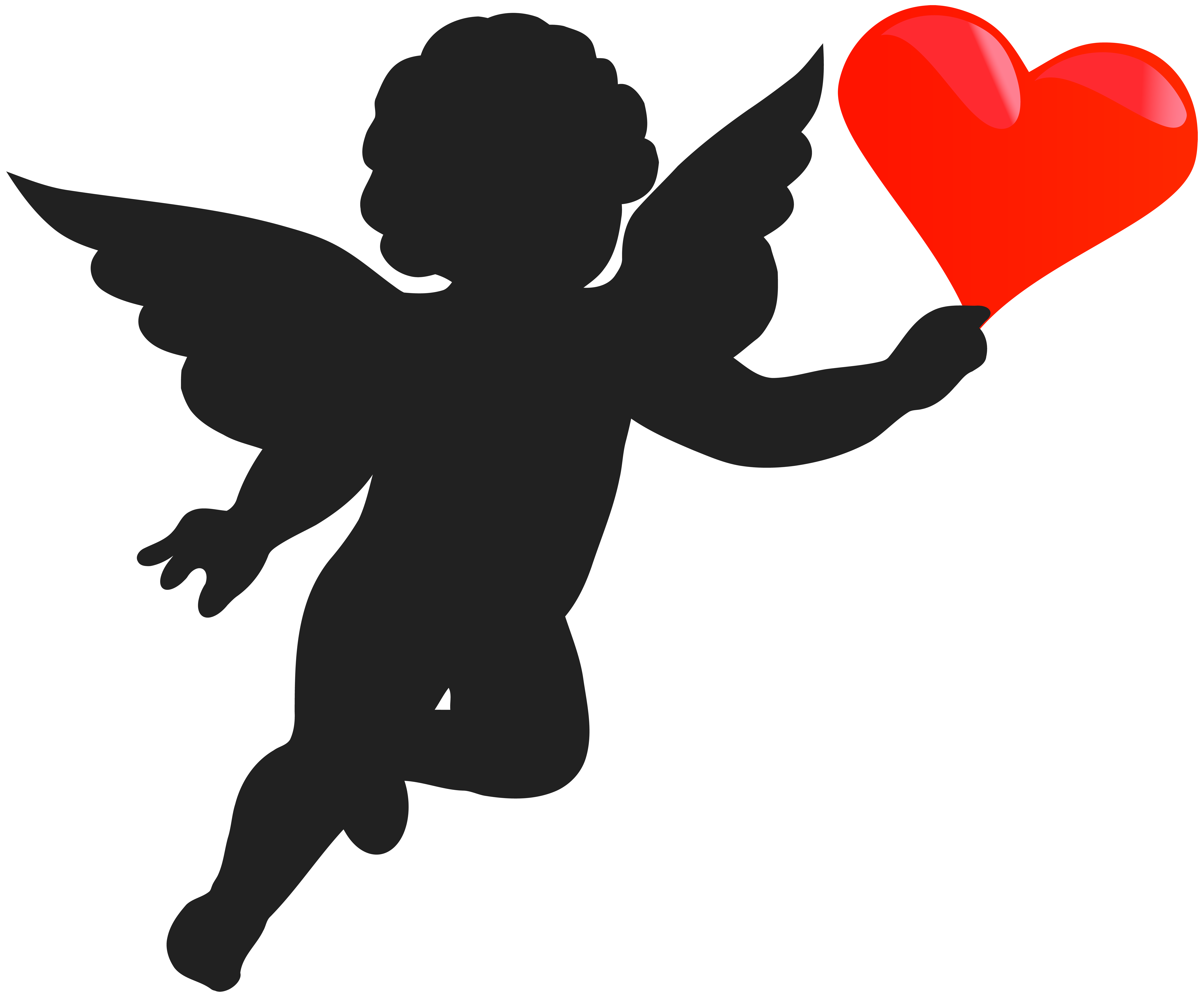 Cupid with heart silhouette. Hearts clipart character