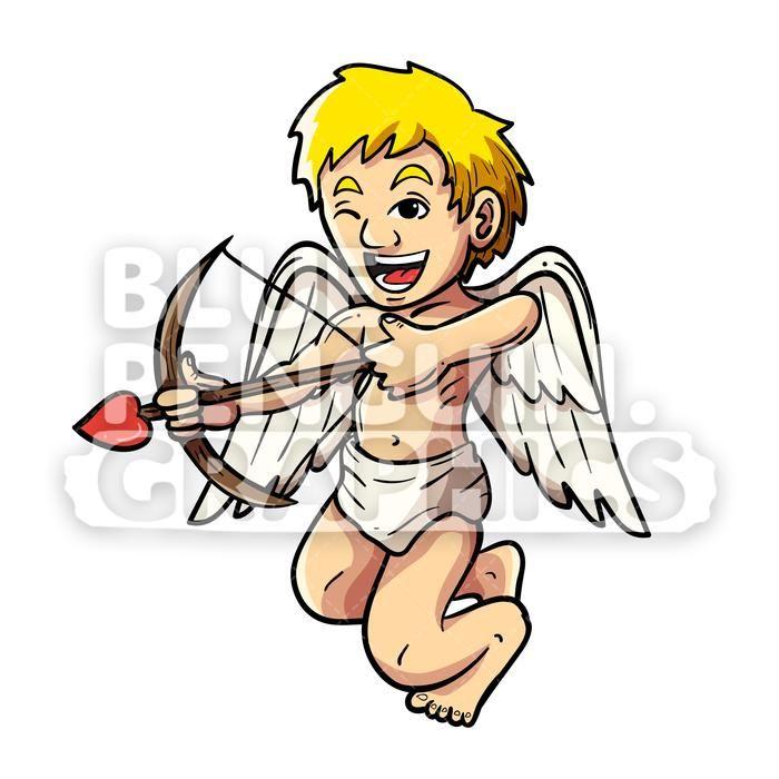 Flying vector cartoon illustration. Cupid clipart comic