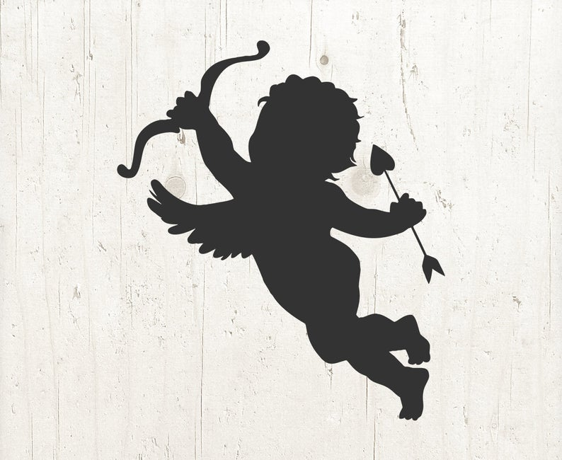 Svg silhouette valentine love. Cupid clipart file