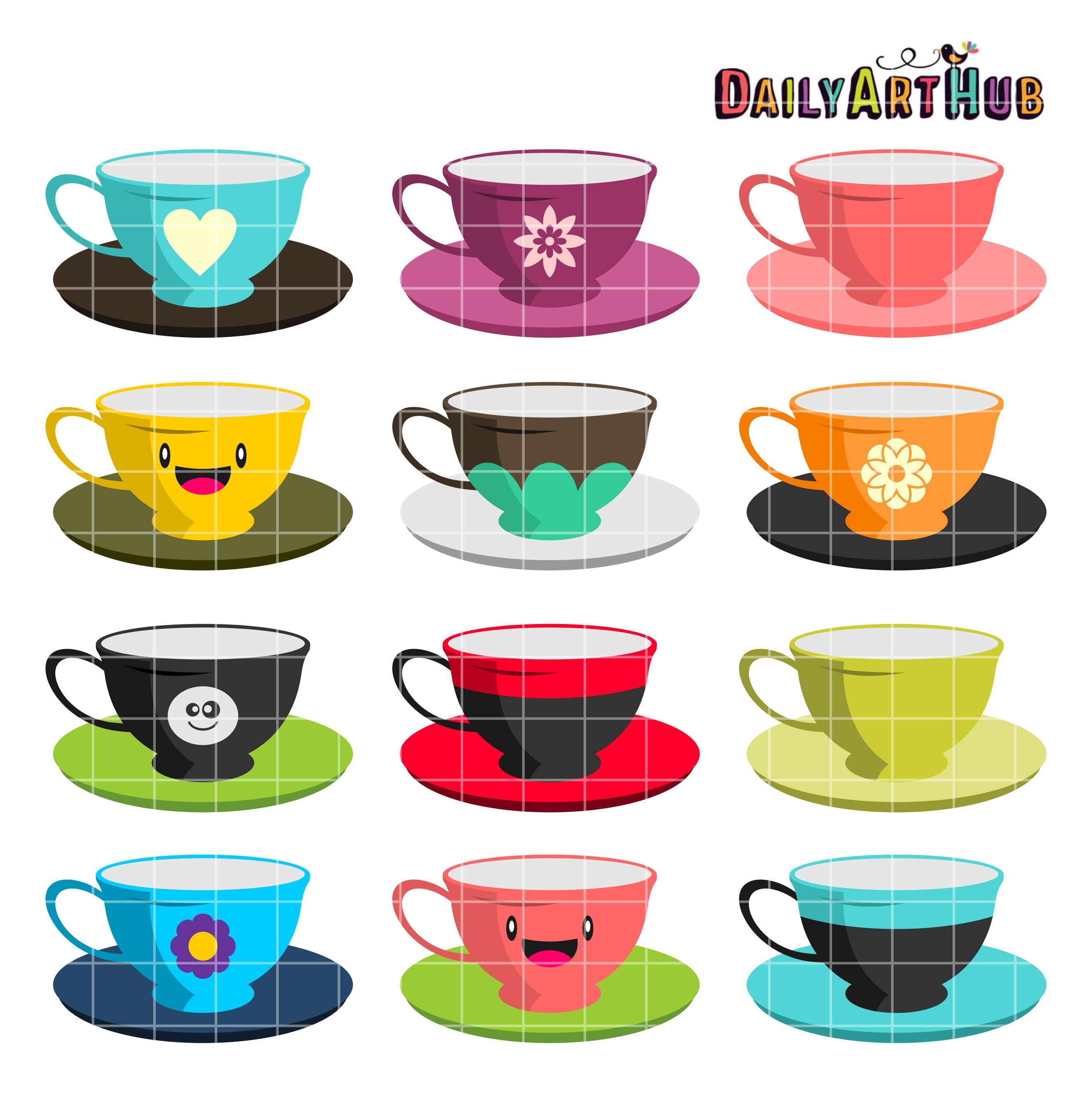 Cups clipart. Tea clip art set