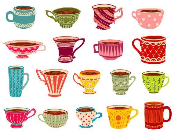 Cups clipart. Tea party mugs clip