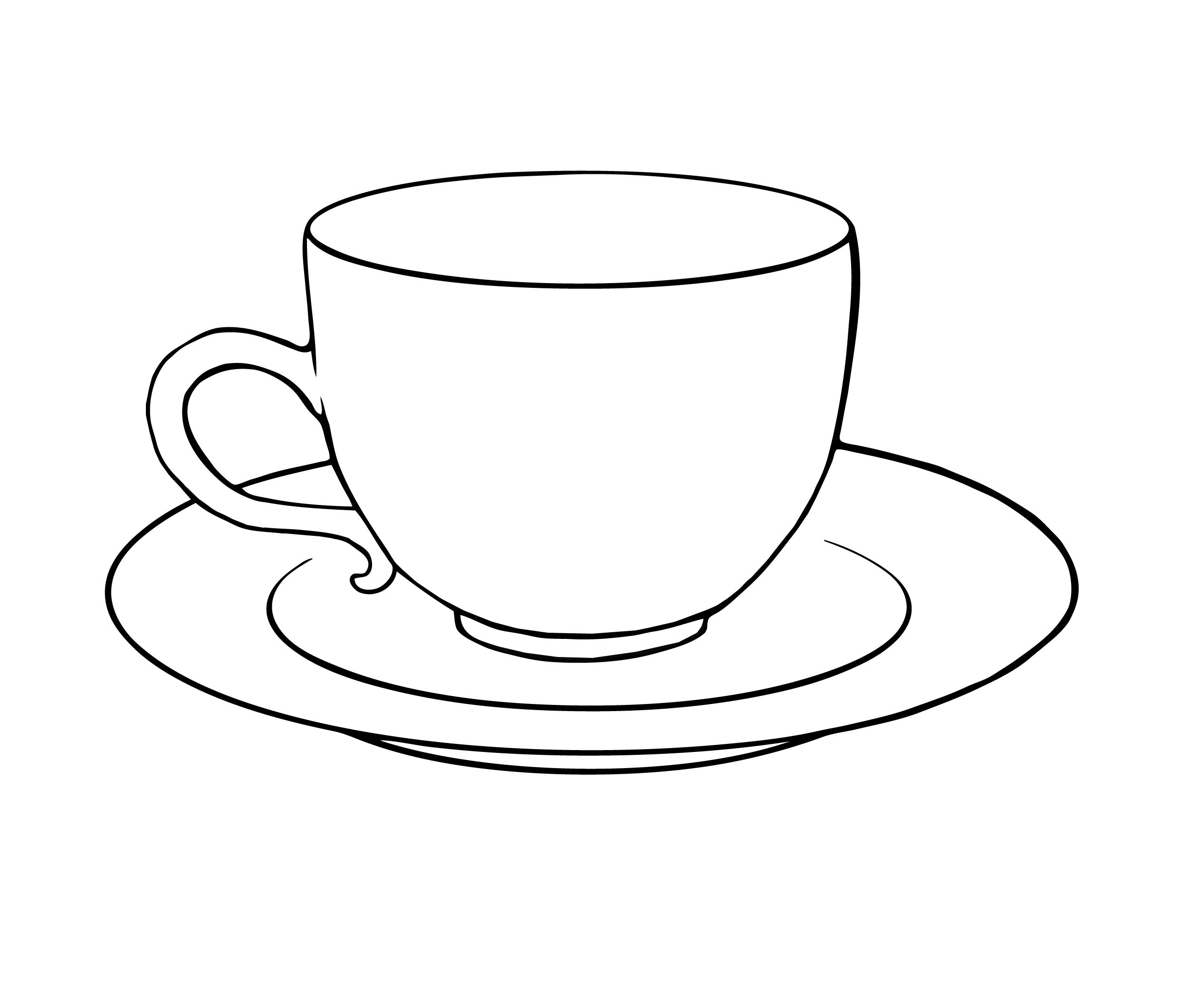 Tea cup and saucer. Cups clipart sketch