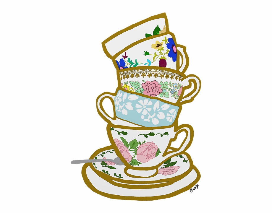 Cups clipart stacked cup. Tea party stack of