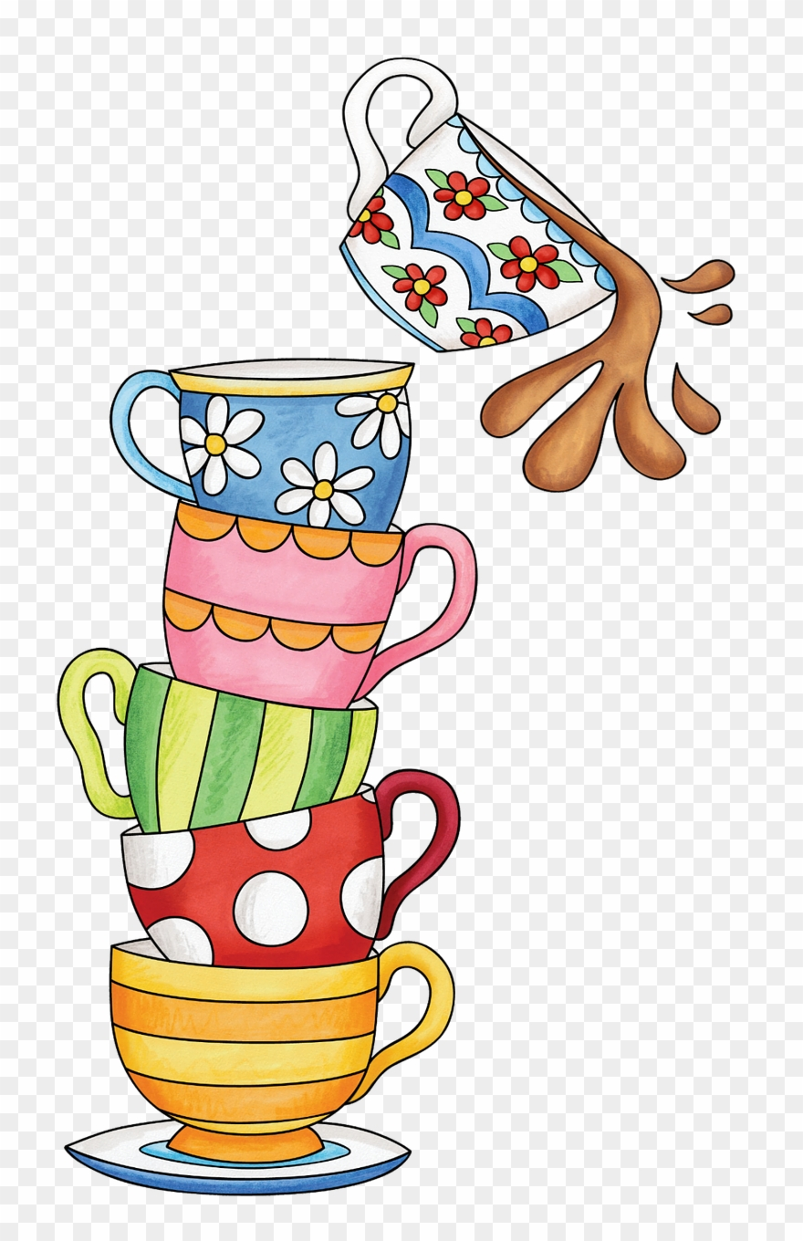 Tea watercolor spill cute. Cups clipart stacked cup