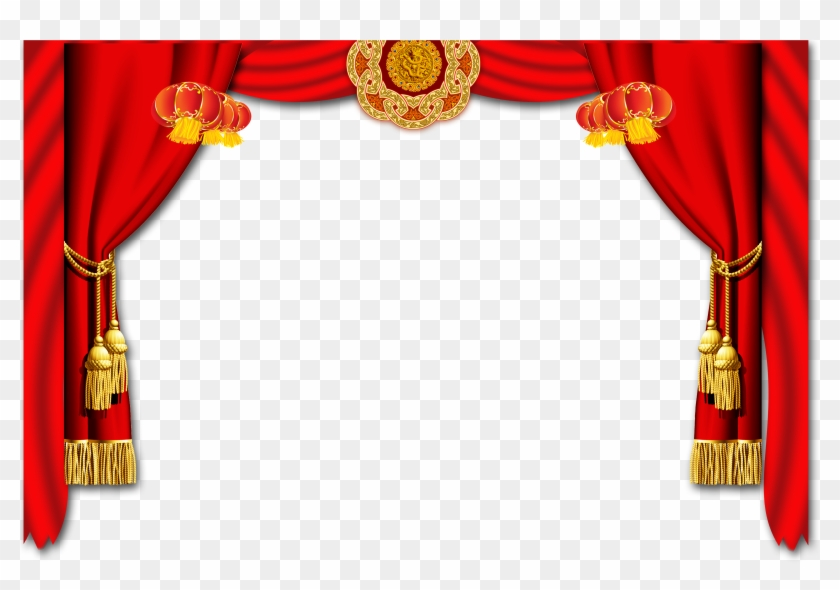 Chinese new year border. Curtain clipart big red