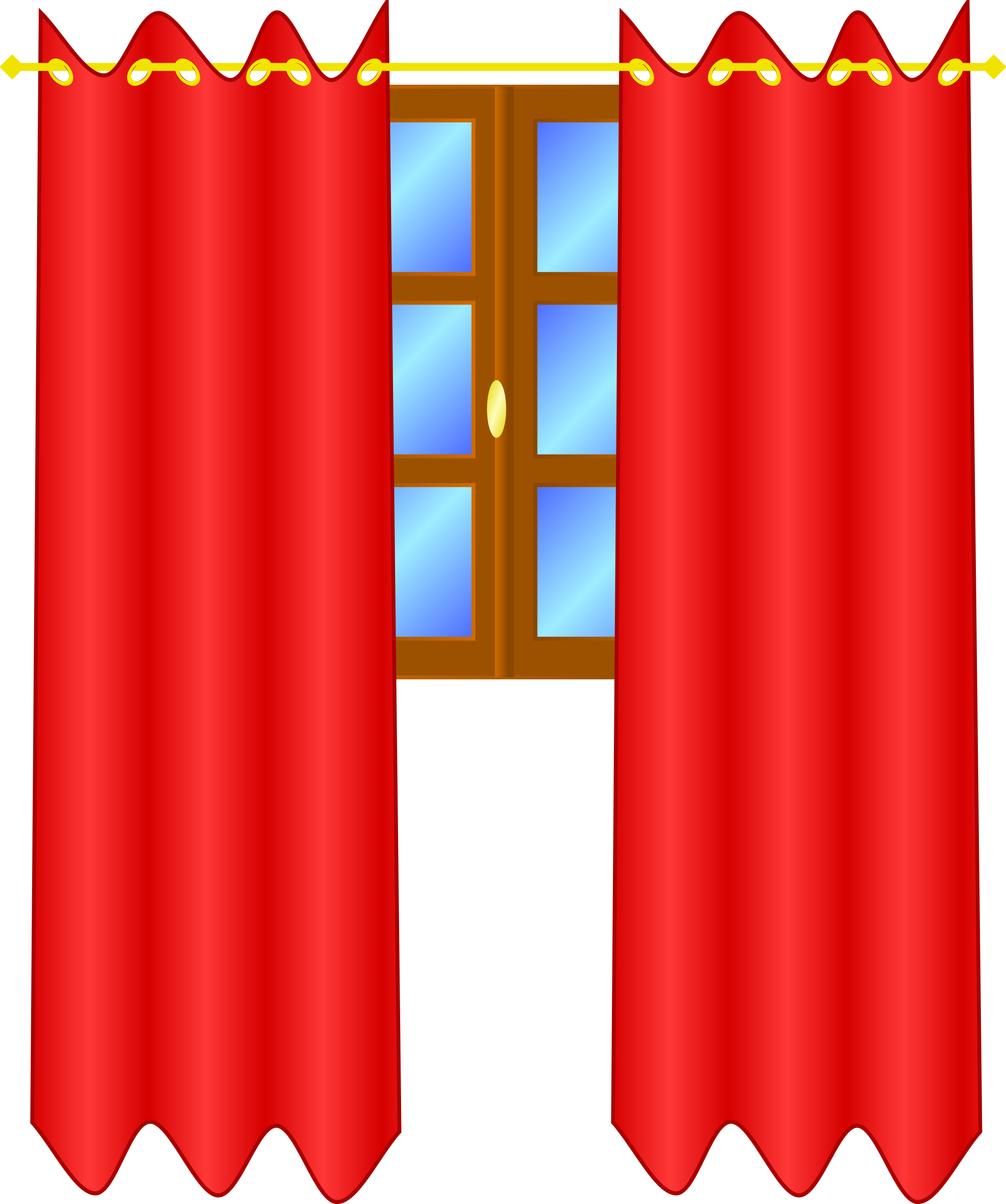 Window with draperies image. Curtain clipart big red