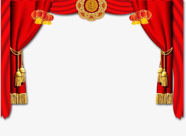 Silk lanterns festive element. Curtain clipart big red