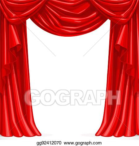 Curtain clipart big red. Vector art draped with