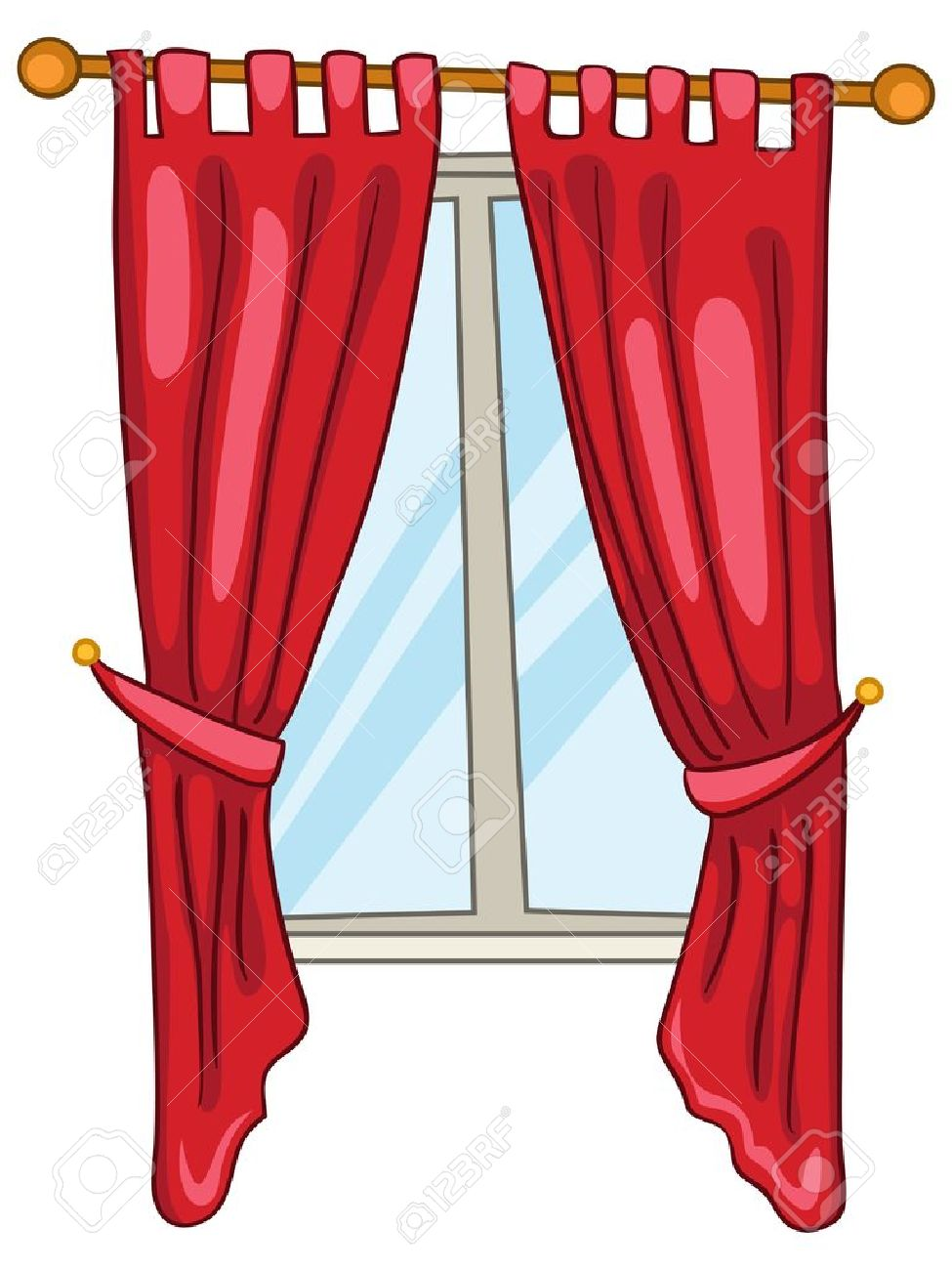 Window with free download. Curtains clipart cartoon
