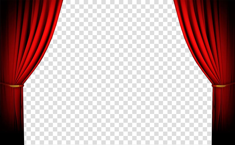 Two red illustration window. Curtains clipart circus